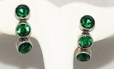 Vintage 3 Large Green Rhinestones Set In Sterling Silver Screwback Earrings