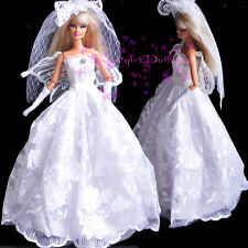 Perfect Limited Edition white Barbie Wedding dress&Grown for Barbie&Disney Doll