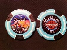 """Harley Ball Marker Poker Chip (TEAL Blue/Black) """"Ranch"""" College Station TX AGGIE"""