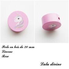Perle en bois de 20 mm, Perle plate Licorne : Rose