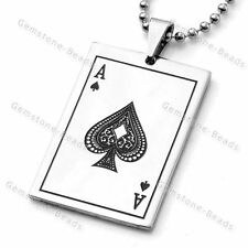 """Strand Stainless Steel Ace of Spades Poker Pendant Ball Bead Chain Necklace 19"""""""
