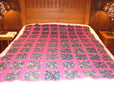 Granny Square Handmade Handcrafted Crochet AFGHAN Throw Blanket ~ Hot Pink Green