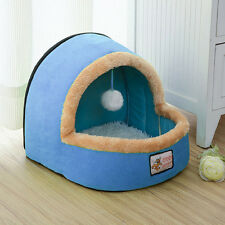 Portable Pet Dog Cat Bed Puppy House Warm Kennel with Toy Balls Pet Blanket Blue
