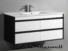 DarK Frame Wall Hung Vanity with Ceramic Basin and Soft Closing Drawer 1200mm