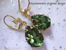Tudor style Art Nouveau Art Deco earrings tourmaline green vintage drop short