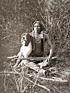 Restored Vintage Native American Indian Photograph, UTE WARRIOR and HIS DOG