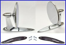 Ford Universal Chrome Round Door Mount Mirrors Rearview w/ Gaskets & Screws