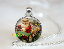Santa Clause Holiday glass dome Tibet silver Chain Pendant Necklace wholesale