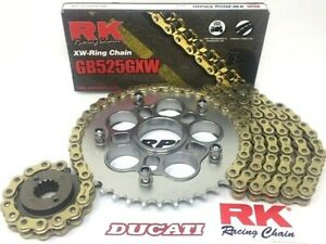 2009-2012 DUCATI 1099 RK GXW 525 GOLD OEM CHAIN AND SPROCKETS KIT w/Carrier