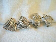 2 PAIR VTG RETRO ANTIQUED SILVER TONE EARRINGS TRIANGLE SHAPED FLOWER SHAPE CLIP
