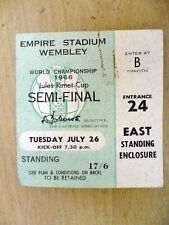 Tickets- 1966 World Cup Semi FINAL- ENGLAND v PORTUGAL, 26 July (Org*,VG)