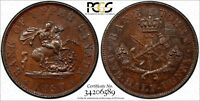 Canada UPPER CANADA 1850 1/2 Penny BANK TOKEN PCGS MS63 BN KM# Tn2 BR-720 PC-5A