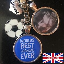 Personalised Photo Keyring - Best Grandad Football - Fathers Day Present Gift