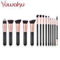 14Pcs Professional Makeup Brushes Kits Cosmetic Face Lip Pencil Brush Black Gold