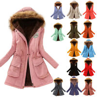 Womens Fur Lined Hooded Fleece Outwear Jacket Winter Thick Warm Hoodies Coat