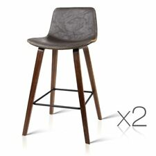 2x Wooden Bar Stools Kitchen Barstool Dining Chair Cafe Wood Brown Bronze 8701