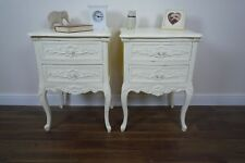 Handmade Pair Of Rococo French Bedside Cabinets In Cream
