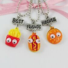 3pce Best Friends Forever Resin Fries Hot Dog Burger Charm Friendship Necklaces