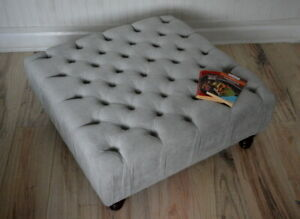 Square Design Chesterfield Deep Button  Footstool in Casino Silver Fabric