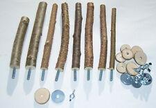 8 Sitzstangen Haselnuss Naturholz unbehandelt für Vögel Wellensittich Kanarien