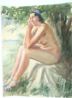 Aquarell Sitzende Nackte Frau Aktmalerei in der Natur