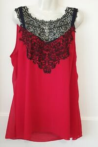 Size 20 CITY CHIC TOP stunning Black lace bodice size M