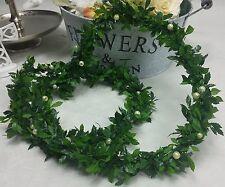 1m Tischgirlande Tischdeko hellgrün Perlen Blattgirlande  Efeu Perlengirlande
