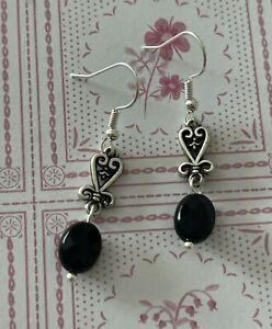 Brighton ST GERMAIN Silver Scrollwork Black Oblong Beads Custom Silver Earrings
