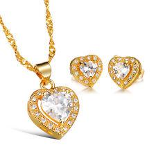 Female Women CZ Stone Heart Pendants Necklaces and Earrings Fashion jewelry Set