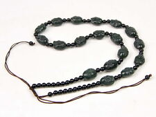 Hand Carved Nephrite Jade 18 Arhat Buddha 15mm Beads Necklace