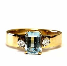 14k yellow gold .08ct VS G diamond aquamarine ring band 3.8g ladies estate