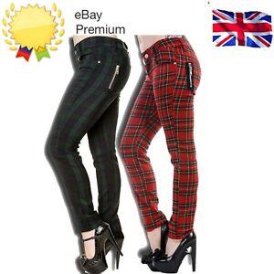 Women's Banned Tartan Plaid Check Emo Punk Skinny Goth 80s Jeans Pants Trousers