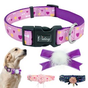 Flower Decorated Dog Collar Detachable Adjustable Female Girls Dogs Necklace SML