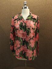 Nos Vtg 1970s Peek-a-boo Shear Spring Season Pink Day Lily Floral Blouse 14/34
