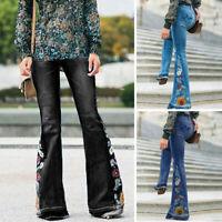 Women High Waist Floral Bell-bottom Denim Jeans Flared Trousers Wide Leg Pants