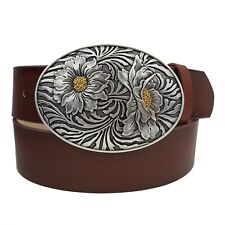 Western Vegan Belt with Silver plated Oval Buckle