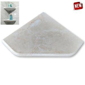 """EZ-MOUNT 8"""" Marble Shower Corner Shelf (XD Venetian Cream) Stone Bath Soap Dish"""