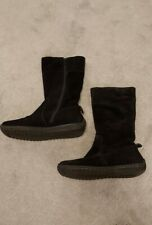 Bhs Ladies boots size 6 black genuine suede Mid Calf yetty warm wear boots flat