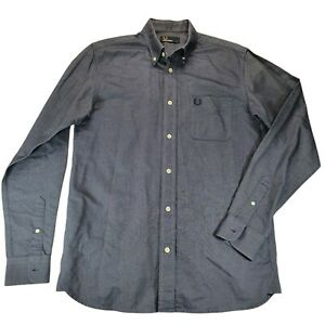 Fred Perry Mens Button Up Shirt Size S Blue Long Sleeve Collared Slim Fit