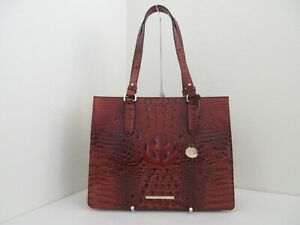 NWT AUTHENTIC BRAHMIN MEDIUM CAMILLE MELBOURNE EMBOSSED LEATHER TOTE-$295-PECAN