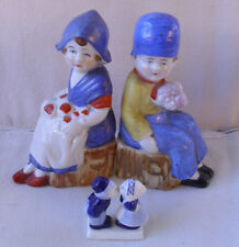 Vintage (c1950) Dutch boy & girl Made in Japan figurines + one extra Delft item