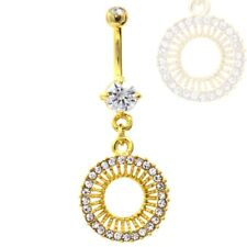 "Circular Cz Gem Burst Belly Ring Gold Plated Navel Piercing Jewelry (14g 3/8"")"