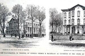 Trenton New Jersey State House 1878 McCLELLAN RESIDENCE Matted Print Engraving