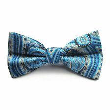 Premium Formal Wedding Party Blue & Gold Paisley Men Bow Tie Bowtie