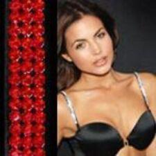 L-straps Swarovski Crystal Bra Straps - red on black