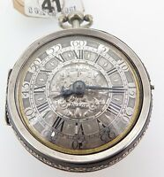.C 1700 PIERRE TOLLOT SILVER CHAMPLEVE PAIR CASED VERGE POCKET WATCH