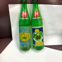Vintage Notre Dame 1973 & 1977  National Championship 7-UP Bottles (opened)