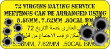 72 VIRGINS DATING SERVICE  UV LAMINATED VINYL STICKER 80MM X 180MM