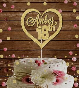 18th HEART CUSTOM NAME GLITTER CAKE TOPPER, 18th BIRTHDAY PARTY DECORATION