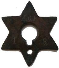 JUDAICA Star of David JUDAISM Russian EMPIRE Bronze Pre 1917 Russia И.С.К. 1 8